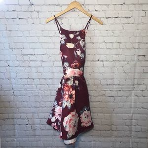 Charlotte Russe Maroon Floral Backless Dress